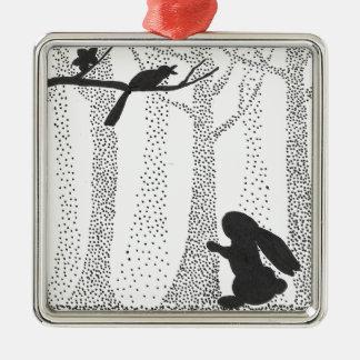 Bunny and Bird Metal Ornament