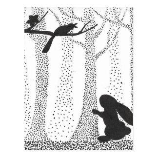 Bunny and Bird Postcard