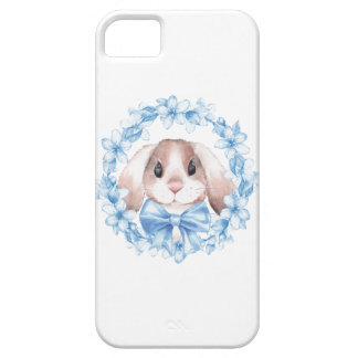 Bunny and blue wreath iPhone 5 case