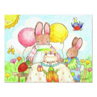 bunny and bug birthtday invitation
