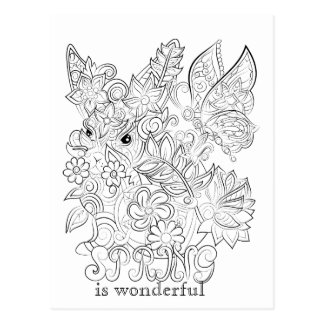 Bunny and butterfly adult colouring post card