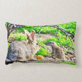 Bunny and Ground Squirrel Accent Throw Pillow