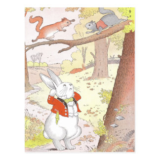 Bunny and Noisy Squirrels Postcard
