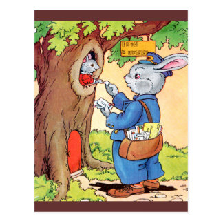Bunny And the Mailman Postcard