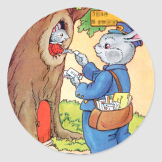 Bunny And the Mailman Round Sticker