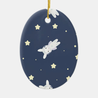 Bunny-astronaut in open space ceramic oval ornament