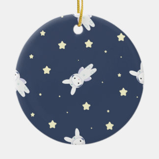 Bunny-astronaut in open space round ceramic ornament