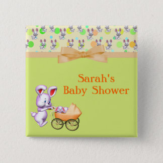 Bunny Babies,Creamy Colors Baby Shower 2 Inch Square Button