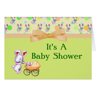 Bunny Babies,Creamy Colors Baby Shower Note Card