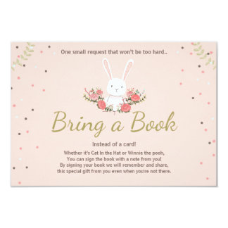 Bunny Baby Shower Bring a book card Spring Floral