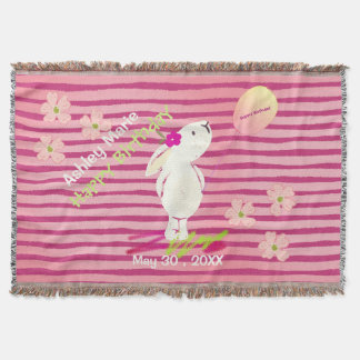 Bunny Birthday Greetings Throw Blanket