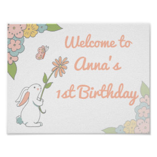 Bunny Birthday Welcome sign