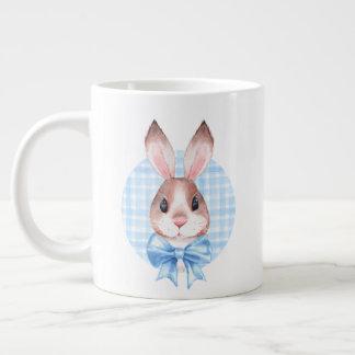 Bunny. Blue bow Large Coffee Mug