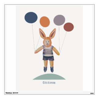 Bunny Boy with balloons wall decal for kids' room