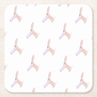 Bunny Brings Out The Cupcakes Square Paper Coaster