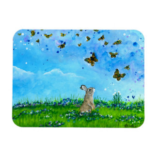 Bunny & Butterflies Magnet by Bihrle