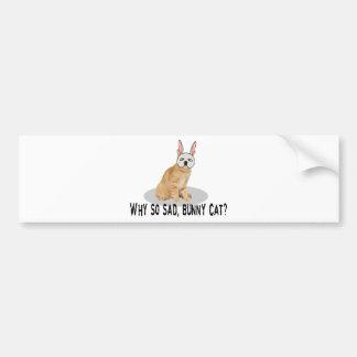 Bunny Cat Sad Bumper Sticker