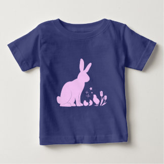 Bunny, Chick and Tulips in Silhouette Baby T-Shirt