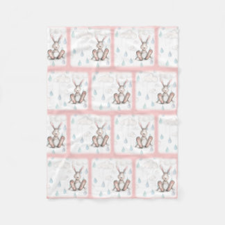 Bunny Clouds & Raindrops -Pink Fleece Blanket