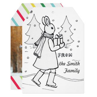 Bunny Coloring Christmas Card