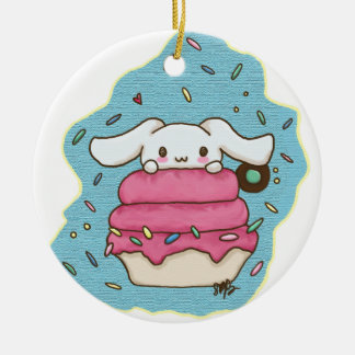 bunny desert round ceramic ornament
