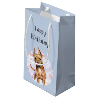 """Bunny Ears"" 2 Pit Bull Dog Watercolor Birthday Small Gift Bag"