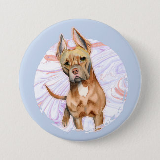 """""""Bunny Ears"""" 2 Pit Bull Dog Watercolor Painting 3 Inch Round Button"""
