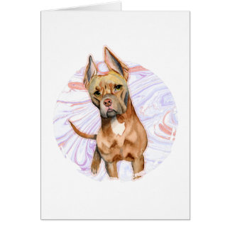 """Bunny Ears"" 2 Pit Bull Dog Watercolor Painting Card"