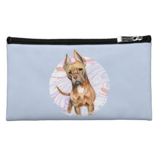 """Bunny Ears"" 2 Pit Bull Dog Watercolor Painting Cosmetic Bag"