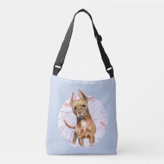 """Bunny Ears"" 2 Pit Bull Dog Watercolor Painting Crossbody Bag"