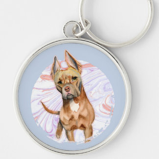 """""""Bunny Ears"""" 2 Pit Bull Dog Watercolor Painting Keychain"""