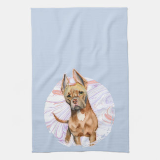 """Bunny Ears"" 2 Pit Bull Dog Watercolor Painting Kitchen Towel"