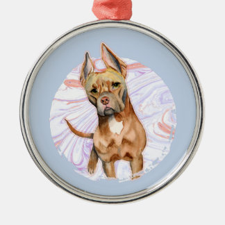 """""""Bunny Ears"""" 2 Pit Bull Dog Watercolor Painting Metal Ornament"""