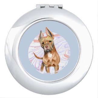"""""""Bunny Ears"""" 2 Pit Bull Dog Watercolor Painting Mirror For Makeup"""