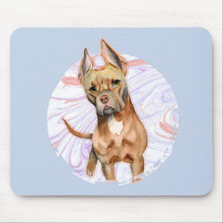 """Bunny Ears"" 2 Pit Bull Dog Watercolor Painting Mouse Pad"