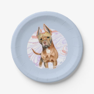 """""""Bunny Ears"""" 2 Pit Bull Dog Watercolor Painting Paper Plate"""