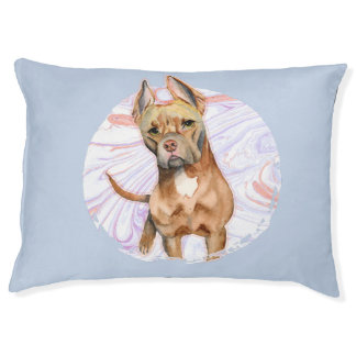 """""""Bunny Ears"""" 2 Pit Bull Dog Watercolor Painting Pet Bed"""