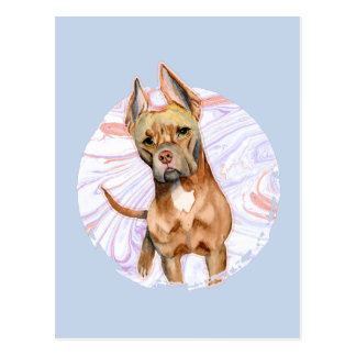 """Bunny Ears"" 2 Pit Bull Dog Watercolor Painting Postcard"