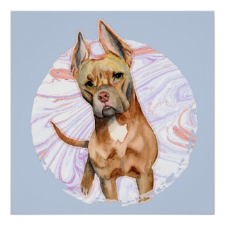 """""""Bunny Ears"""" 2 Pit Bull Dog Watercolor Painting Poster"""