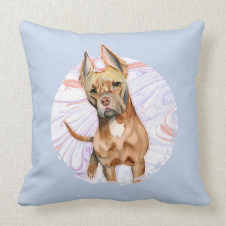 """""""Bunny Ears"""" 2 Pit Bull Dog Watercolor Painting Throw Pillow"""