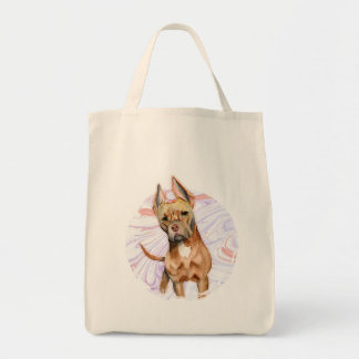 """""""Bunny Ears"""" 2 Pit Bull Dog Watercolor Painting Tote Bag"""