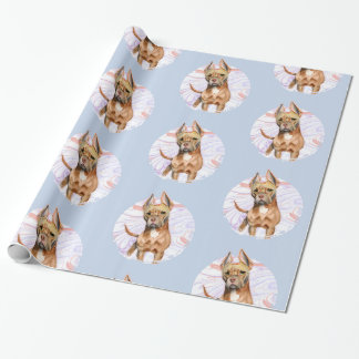 """""""Bunny Ears"""" 2 Pit Bull Dog Watercolor Painting Wrapping Paper"""