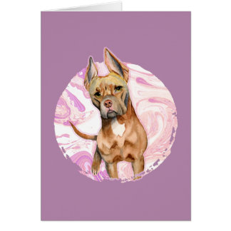 """Bunny Ears"" 3 Pit Bull Dog Watercolor Painting Card"