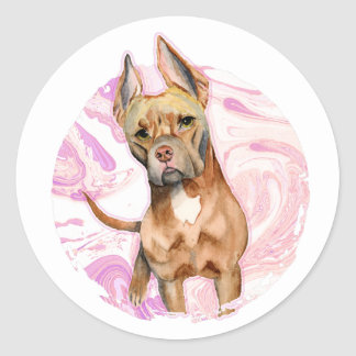 """Bunny Ears"" 3 Pit Bull Dog Watercolor Painting Classic Round Sticker"