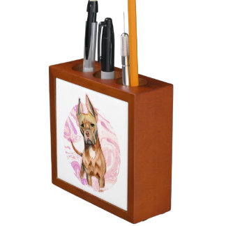 """""""Bunny Ears"""" 3 Pit Bull Dog Watercolor Painting Desk Organizer"""