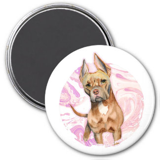 """""""Bunny Ears"""" 3 Pit Bull Dog Watercolor Painting Magnet"""