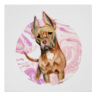 """""""Bunny Ears"""" 3 Pit Bull Dog Watercolor Painting Poster"""
