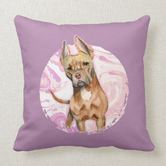 """""""Bunny Ears"""" 3 Pit Bull Dog Watercolor Painting Throw Pillow"""