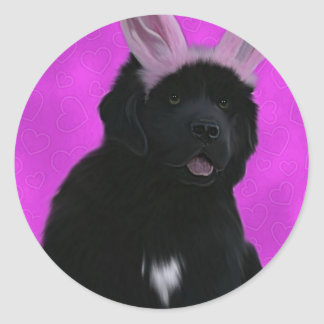 Bunny ears classic round sticker