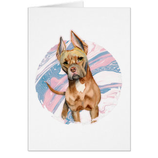 """Bunny Ears"" Pit Bull Dog Watercolor Painting Card"